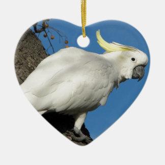 Sulphur crested cockatoo ceramic heart decoration