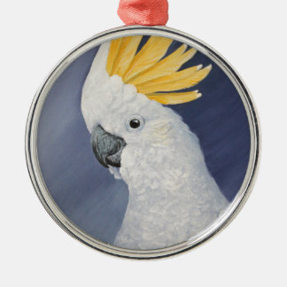 Sulphur crested Cockatoo gift for the parrot lover Silver-Colored Round Decoration