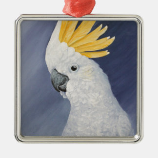 Sulphur crested Cockatoo gift for the parrot lover Silver-Colored Square Decoration