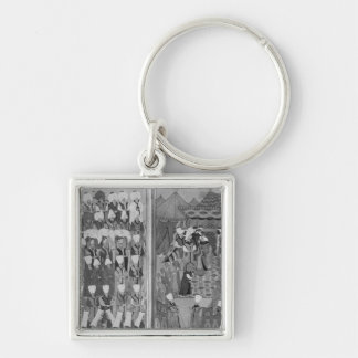 Sultan Ahmed III Distributing Money Silver-Colored Square Key Ring