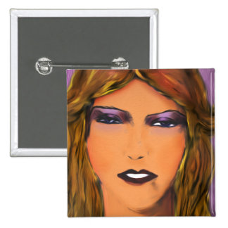 Sultry Woman Sketch Pinback Buttons