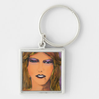Sultry Woman Sketch Silver-Colored Square Key Ring