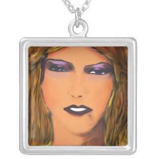 Sultry Woman Sketch Custom Necklace