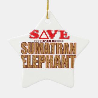 Sumatran Elephant Save Christmas Ornament