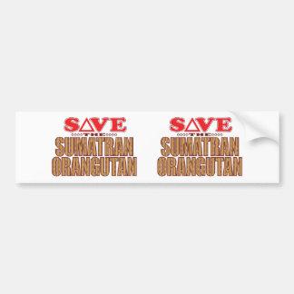 Sumatran Orangutan Save Bumper Sticker