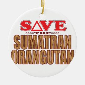 Sumatran Orangutan Save Round Ceramic Decoration