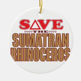 Sumatran Rhino Save Christmas Ornament