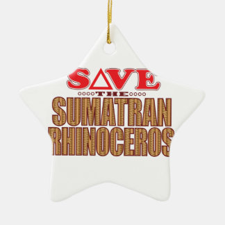 Sumatran Rhino Save Christmas Ornament