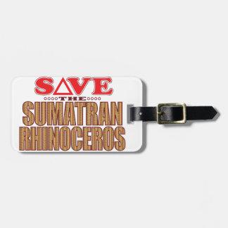 Sumatran Rhino Save Luggage Tag
