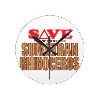 Sumatran Rhino Save Round Clock