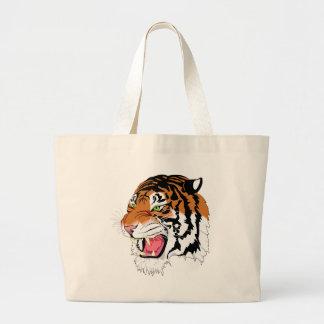sumatran tiger large tote bag