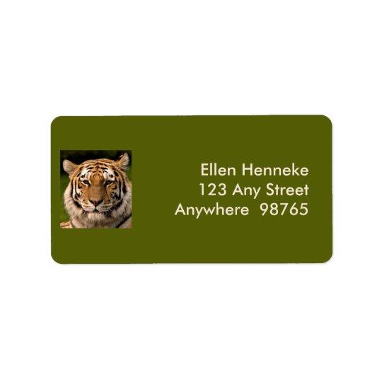 Sumatran Tiger Portrait Label