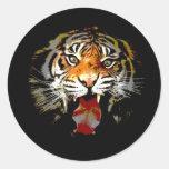 Sumatran Tiger Round Stickers