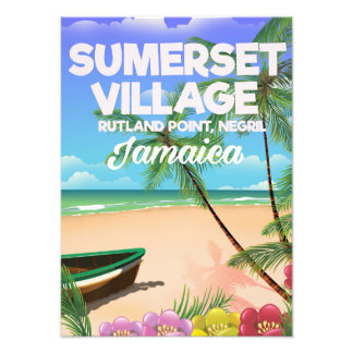 Sumerset Village Jamaica travel poster Photographic Print