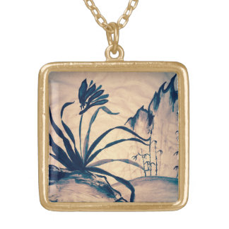 Sumi-e Orchid at Sunset Necklace