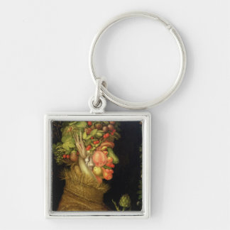 Summer, 1573 Silver-Colored square key ring