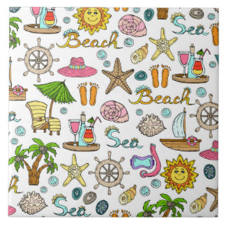 Summer and beach patterns tile