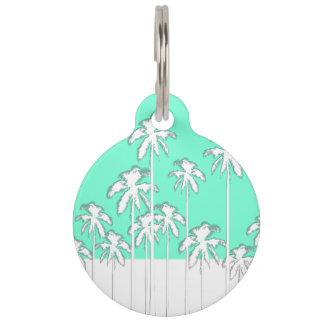 Summer Aqua Teal & White Tropical Palm Trees Pet ID Tag