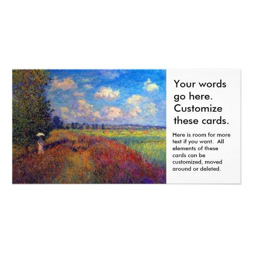 Summer art impressionist poppy fields by Monet Customized Photo Card