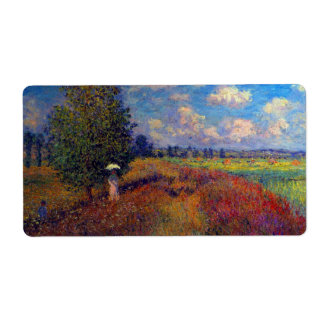 Summer art impressionist poppy fields by Monet Shipping Label