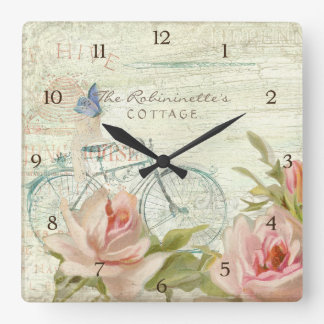Summer at the Cottage Roses Bicycle Butterfly Bees Clocks