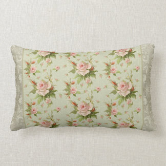 Summer at the Cottage Vintage Damask Rose Pattern Lumbar Cushion