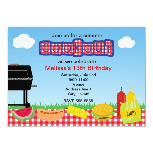 Summer Barbecue BBQ Cookout Park Invitations