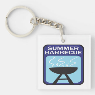 Summer Barbecue Single-Sided Square Acrylic Key Ring