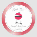 Summer BBQ Baby Shower Sticker Red