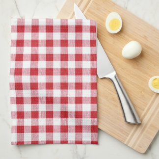 Summer BBQ Grill Cookout Reunion Red Gingham Check Tea Towel