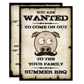 Summer BBQ Mustache Pig Wanted Invitations