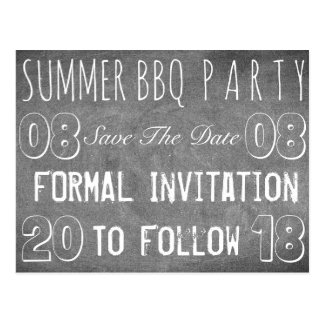 Summer BBQ Party Save The Date Chalkboard Postcard