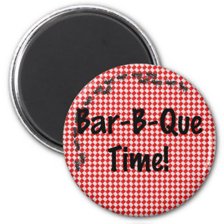 Summer BBQ Picnic on Red Table Cloth Magnet