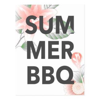 SUMMER BBQ vintage floral Postcard