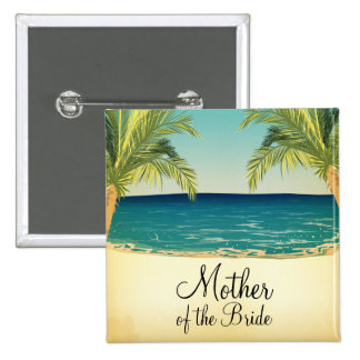 Summer Beach and Palm Trees Mother of the Bride 15 Cm Square Badge