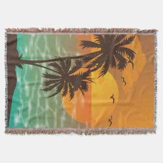 Summer beach at sunset Throw Blanket