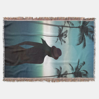 Summer beach background with palms Throw Blanket