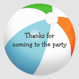 Summer Beach Ball Pool Party Thank You Classic Round Sticker
