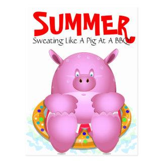 Summer Beach BBQ Pool Party Whimsical Cartoon Pig Postcard