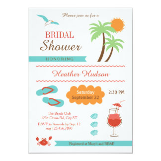 Summer Beach Bridal Shower Invitation