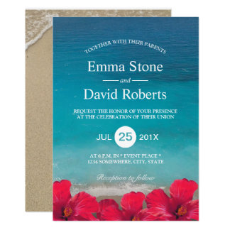 Summer Beach Elegant Tropical Flowers Wedding Card