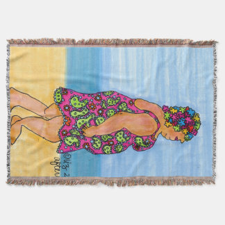 Summer Beach Lady Afternoon Swim Styling Throw