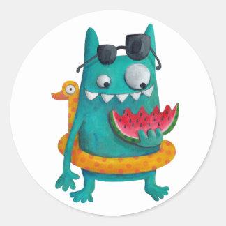 Summer Beach Monster Classic Round Sticker