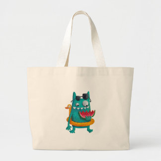 Summer Beach Monster Large Tote Bag