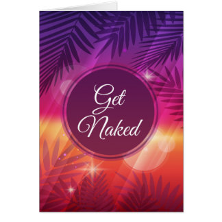 Summer Beach Night Palm Get Naked Greeting Card