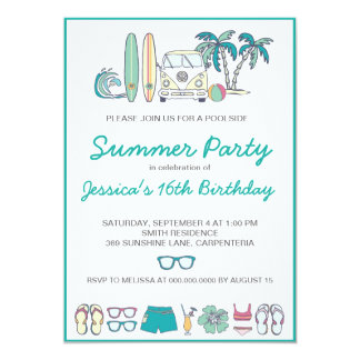 Summer Beach or Pool Party Invitation