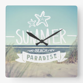 Summer Beach Paradise Square Wall Clock