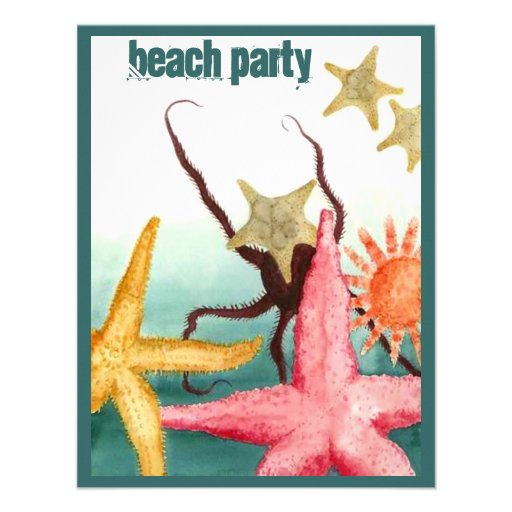 Summer BEACH PARTY Cottage STARFISH Invitation
