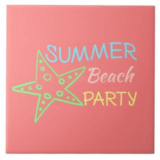 Summer Beach Party Pretty Pastels Tile