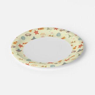Summer Beach Pattern Paper Plate
